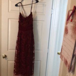 Wine empire waisted chiffon lined dress